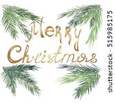 inscription merry christmas... | Shutterstock .eps vector #515985175