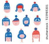 funny winter hats set   sketchy ... | Shutterstock .eps vector #515985301