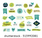 bio  ecology  organic logos and ... | Shutterstock .eps vector #515992081
