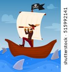 Vector Illustration Of A Pirat...