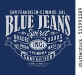 blue denim raw typography  t... | Shutterstock .eps vector #515993389