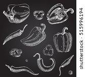 hand drawn pepper. vegetables.... | Shutterstock .eps vector #515996194