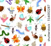 fly and creeping cute cartoon... | Shutterstock .eps vector #516002287