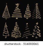 vector set with christmas tree. ... | Shutterstock .eps vector #516003061