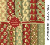 set of christmas seamless... | Shutterstock .eps vector #516007039