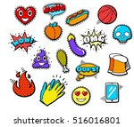 fashion patch badges with heart ... | Shutterstock .eps vector #516016801
