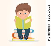 boy is reading a book and... | Shutterstock .eps vector #516017221
