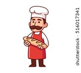 baker holding loaf of bread ... | Shutterstock .eps vector #516017341