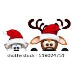 christmas card. reindeer and... | Shutterstock .eps vector #516024751