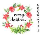 merry christmas lettering....   Shutterstock . vector #516033895