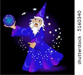 wizard holding crystal ball and ... | Shutterstock .eps vector #5160340