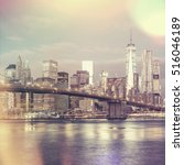 vintage style view of  brooklyn ... | Shutterstock . vector #516046189