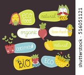 eco and bio food labels set... | Shutterstock .eps vector #516051121