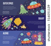 outer space  galaxy  aliens... | Shutterstock .eps vector #516051139