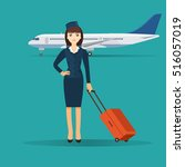 stewardess in blue uniform with ... | Shutterstock .eps vector #516057019