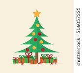 christmas tree with gift.... | Shutterstock .eps vector #516057235