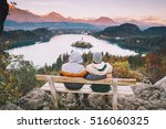 lovers travel europe. couple in ... | Shutterstock . vector #516060325