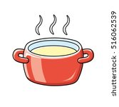red cooking pot or tureen with... | Shutterstock .eps vector #516062539