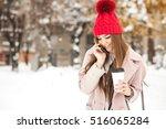 winter girl fun   Shutterstock . vector #516065284