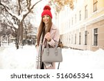 winter girl fun   Shutterstock . vector #516065341