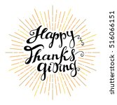 happy thanksgiving. hand drawn... | Shutterstock .eps vector #516066151