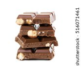 milk chocolate with whole... | Shutterstock . vector #516071461
