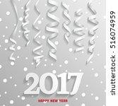 happy new year white confetti   Shutterstock . vector #516074959