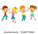 kids boys and girls jumping and ...   Shutterstock .eps vector #516075364