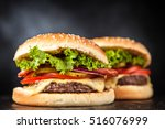 delicious grilled burger | Shutterstock . vector #516076999