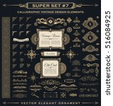 Calligraphic Design vintage Gold elements. Vector flourishes illustration logo set. Border frame collection royal ornament page decoration for menu card, invitations, labels, Restaurant, Cafe, Hotel | Shutterstock vector #516084925