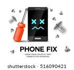 phone repair fix poster... | Shutterstock .eps vector #516090421