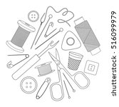 icons sewing in outline style.... | Shutterstock .eps vector #516099979