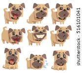 Stock vector little pet pug dog puppy with collar set of emoji facial expressions and activities cartoon 516101041