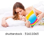 mom kissing her toddler... | Shutterstock . vector #51611065