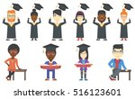 excited graduate in cloak and... | Shutterstock .eps vector #516123601