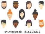 set of people expressing... | Shutterstock .eps vector #516125311