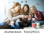 three beautiful friends in a... | Shutterstock . vector #516129211