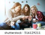 three beautiful friends in a...   Shutterstock . vector #516129211