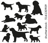 big set of silhouettes of dogs... | Shutterstock .eps vector #516130909