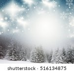 christmas background of snowy... | Shutterstock . vector #516134875