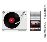 vinyl player with vinyl record. ... | Shutterstock .eps vector #516138121
