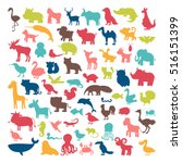 Big Set Of Animals Silhouettes...