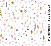 tribal hand drawn background.... | Shutterstock .eps vector #516153325