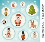 christmas characters   santa... | Shutterstock .eps vector #516155509