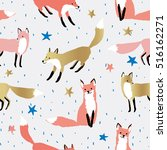 pink and gold foxes  stars ... | Shutterstock .eps vector #516162271