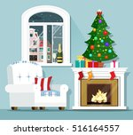 christmas eve concept. stylish... | Shutterstock .eps vector #516164557