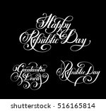 happy republic day handwritten... | Shutterstock . vector #516165814