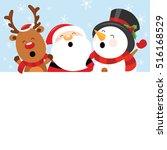 Santa Snowman Reindeer With...
