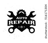 car repair  monochrome emblem. | Shutterstock .eps vector #516171304