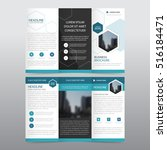 blue hexagon business trifold... | Shutterstock .eps vector #516184471